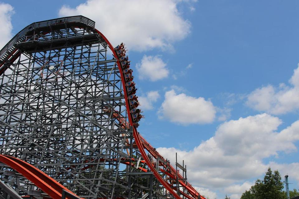 Six Flags' Wicked Cyclone in Agawam is one of five wood-steel hybrid coasters in the country. This is one of its overbanks.